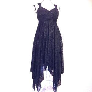 Olivia Matthews Dress 10 Black Asymmetric Flare